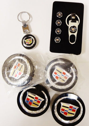 CADILLAC BLACK CENTER CAP, VALVE CAPS AND KEYCHAIN SET