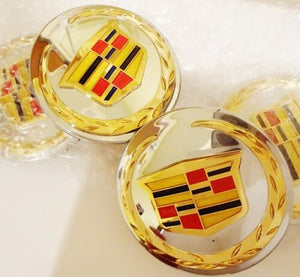 "ESCALADE 3"" ACCESSORY CENTER CAPS CHROME WITH GOLD EMBLEMS SET OF 4"
