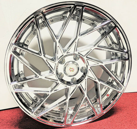 "SLANT V CHROME 20"" X 8.5"" SET OF 4 WHEELS"