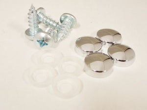 LICENSE PLATE SCREWS AND CHROME CAP SET