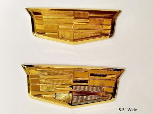 CADILLAC STYLE METAL GOLD TONE CREST EMBLEM PAIR