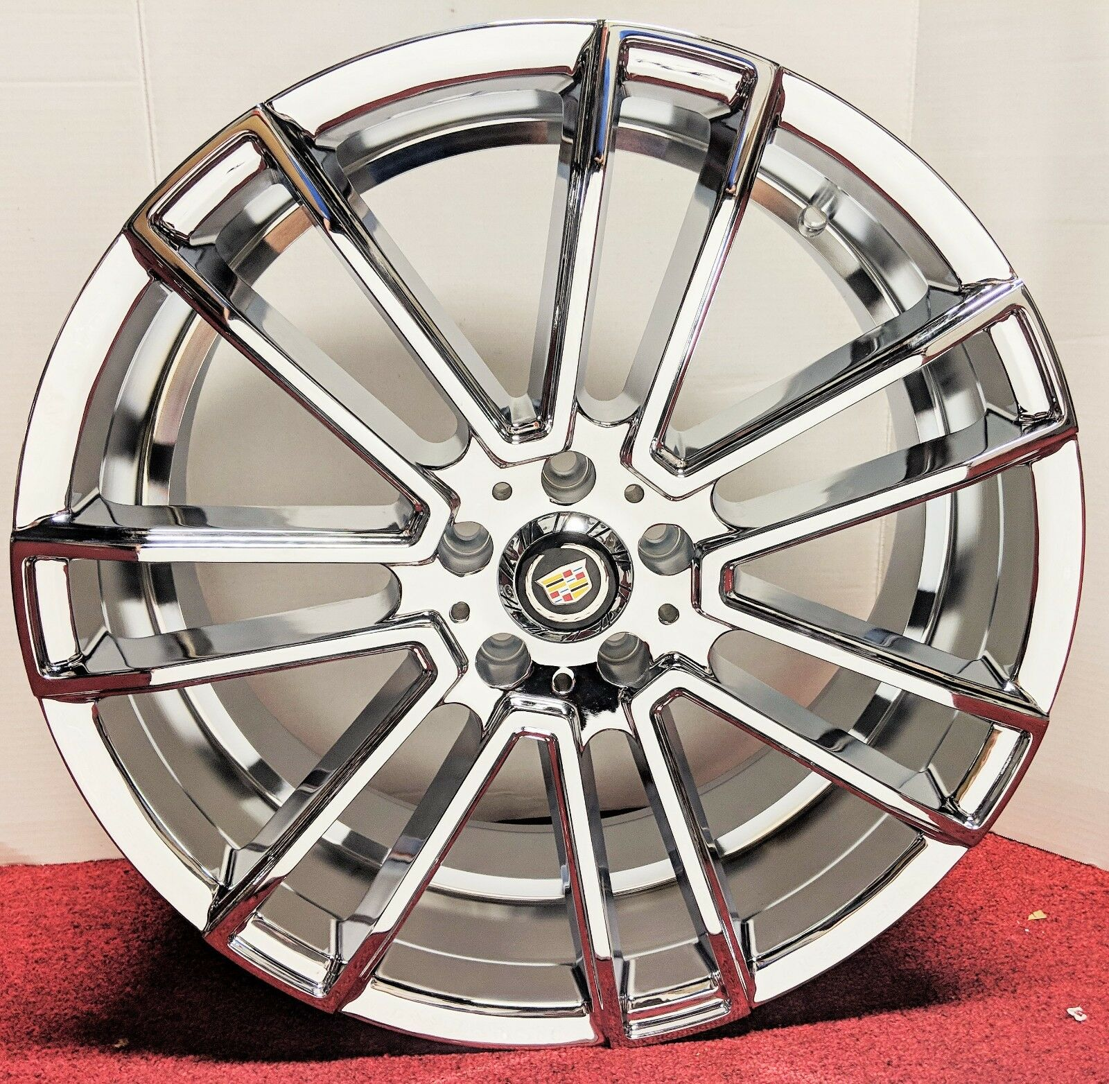 "SQUARE TRACK CHROME 20"" X 8.5"" SET OF 4 WHEELS DTS STS DEVILLE"