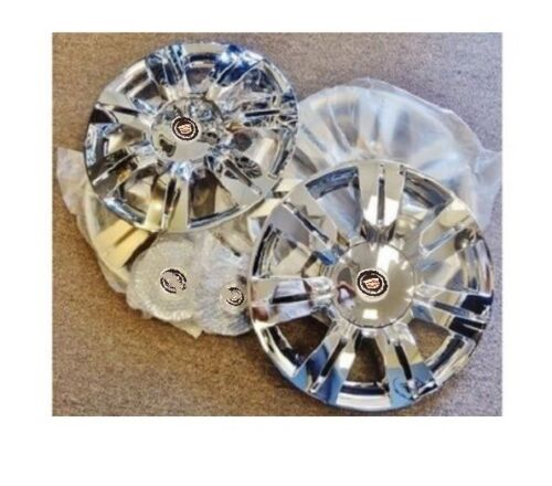 "SRX CHROME 18"" CLAD WHEEL COVERS WITH BLACK LOGOS SET OF 4"