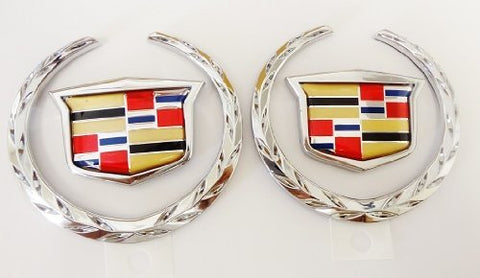 XTS SATIN CHROME FENDER CREST EMBLEM PAIR 2018-2020