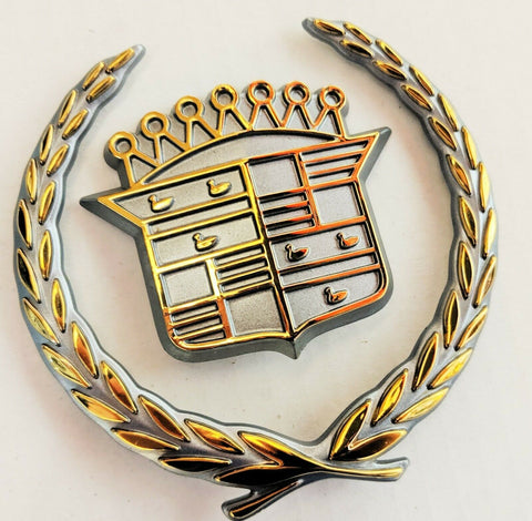 SEVILLE STS SLS 24K GOLD GRILLE WREATH AND CREST EMBLEM 1992-1997