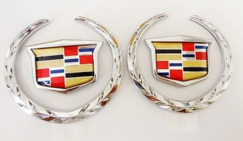 "XLR 3"" CHROME WREATH AND CREST EMBLEM PAIR"