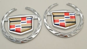 CADILLAC OLD STYLE CHROME WREATH AND CREST EMBLEM PAIR FACTORY GM
