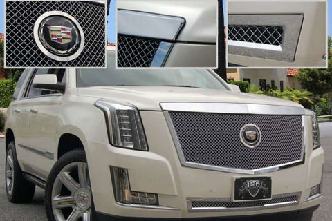 E&G 2015 CADILLAC ESCALADE CLASSIC SERIES CHROME HEAVY MESH MAIN GRILLE - UPPER - ADAPTIVE CRUISE - 1009-010U-15HAC
