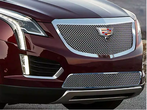 E&G 2017-2018 CADILLAC XT5 - CLASSIC CHROME HEAVY MESH GRILLE - UPPER WITH CAMERA - 1020-010U-17HC