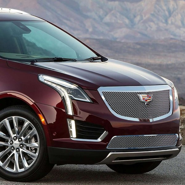 E&G 2017-2018 CADILLAC XT5 - CLASSIC CHROME HEAVY MESH GRILLE - LOWER W/ ADAPTIVE CRUISE - 1020-010L-17HAC
