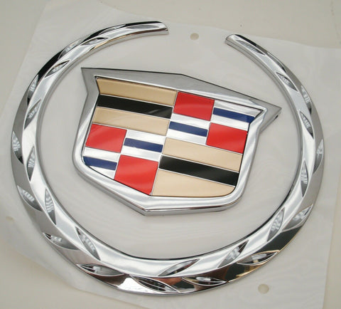 ESCALADE EXT CHROME REAR TAILGATE WREATH AND CREST EMBLEM 2002-2006