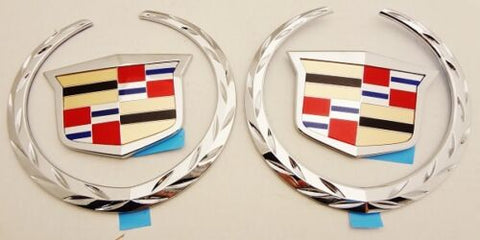 ESCALADE CHROME FRONT AND REAR WREATH AND CREST EMBLEMS 2002-2006
