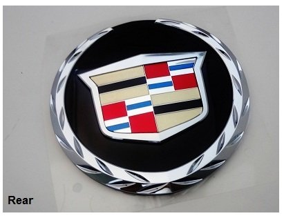 GM FACTORY CADILLAC ESCALADE 07 THRU 13 REAR TAILGATE WREATH AND CREST EMBLEM WITH PLATE