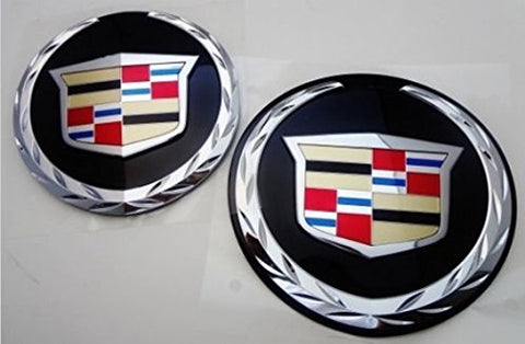 ESCALADE FRONT AND REAR CHROME WREATH AND CREST W/BLACK PLATES 2007-2014