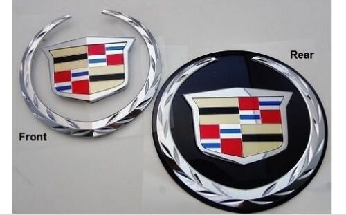 ESCALADE FRONT W/O PLATE AND REAR W/BLACK PLATE CHROME WREATH AND CREST 2007-2014