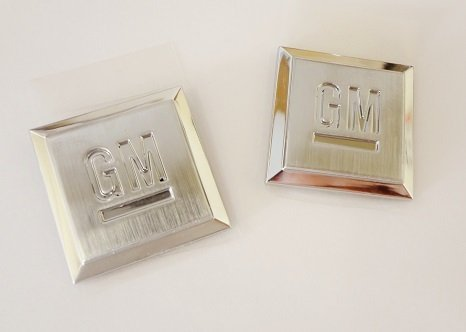 LARGE CHROME GM SQUARE EMBLEM PAIR FOR SUVS AND TRUCKS