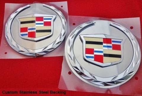 ESCALADE FRONT AND REAR CHROME WREATH AND CREST W/ STAINLESS STEEL PLATES 2007-2014