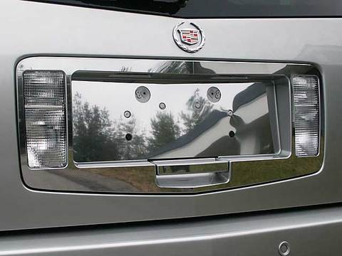 STAINLESS LICENSE PLATE SURROUND 3PC FITS 2004-2009 CADILLAC SRX LPS44260