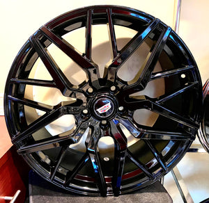 "HI-GLOSS BLACK STACKED 20"" X 8.5"" SET OF 4 WHEELS"