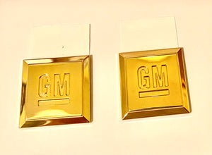 SMALL GM SQUARE 24K GOLD EMBLEM PAIR