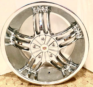 "SET OF 4 CADILLAC WHEELS ""OLD SKOOL ONE DEEP LIP"" 20 X 8.5 CHROME FIT MOST CADILLAC"