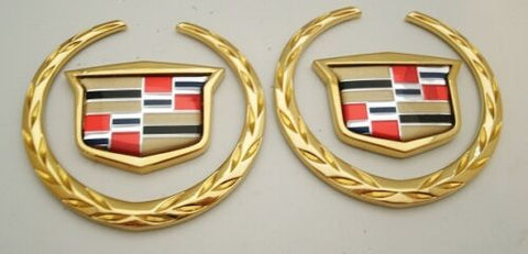 "XLR 3"" 24K GOLD WREATH AND CREST EMBLEM PAIR"