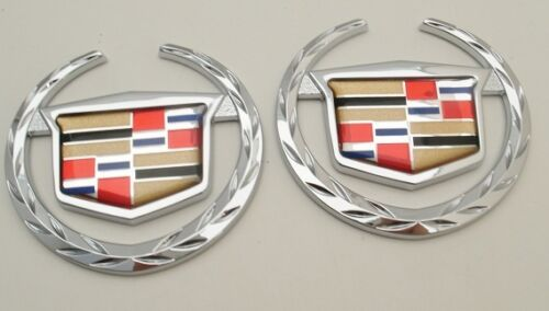 SRX CHROME 1 PIECE WREATH AND CREST EMBLEM PAIR