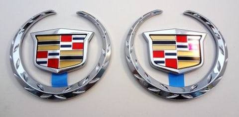 "SRX 3"" CHROME WREATH AND CREST EMBLEM PAIR"