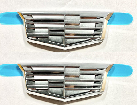 CADILLAC CHROME FENDER CREST EMBLEM PAIR SMALLER SIZE 3""