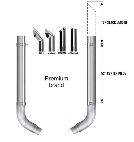 Peterbilt Premium Exhaust Kit 60 Degree Elbow