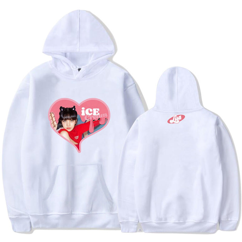 BLACKPINK Ice Cream Heart Printed Hoodie
