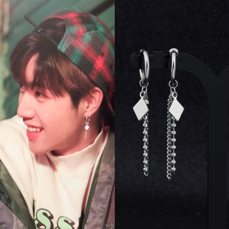 GOT7 Mark Korean Fashion Diamond Chain Earrings