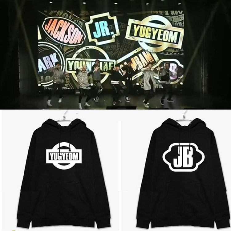GOT7 Member Name Printed Black Hoodie