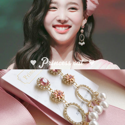 TWICE Lim Na Yeon 3D flower earrings