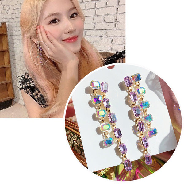 TWICE SANA  Square crystal earrings