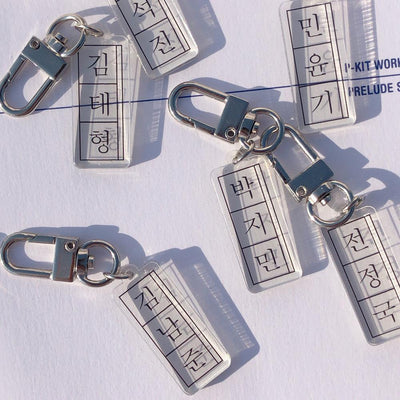 BTS X member name transparent keychain - BT21 Store | BTS Online Shop
