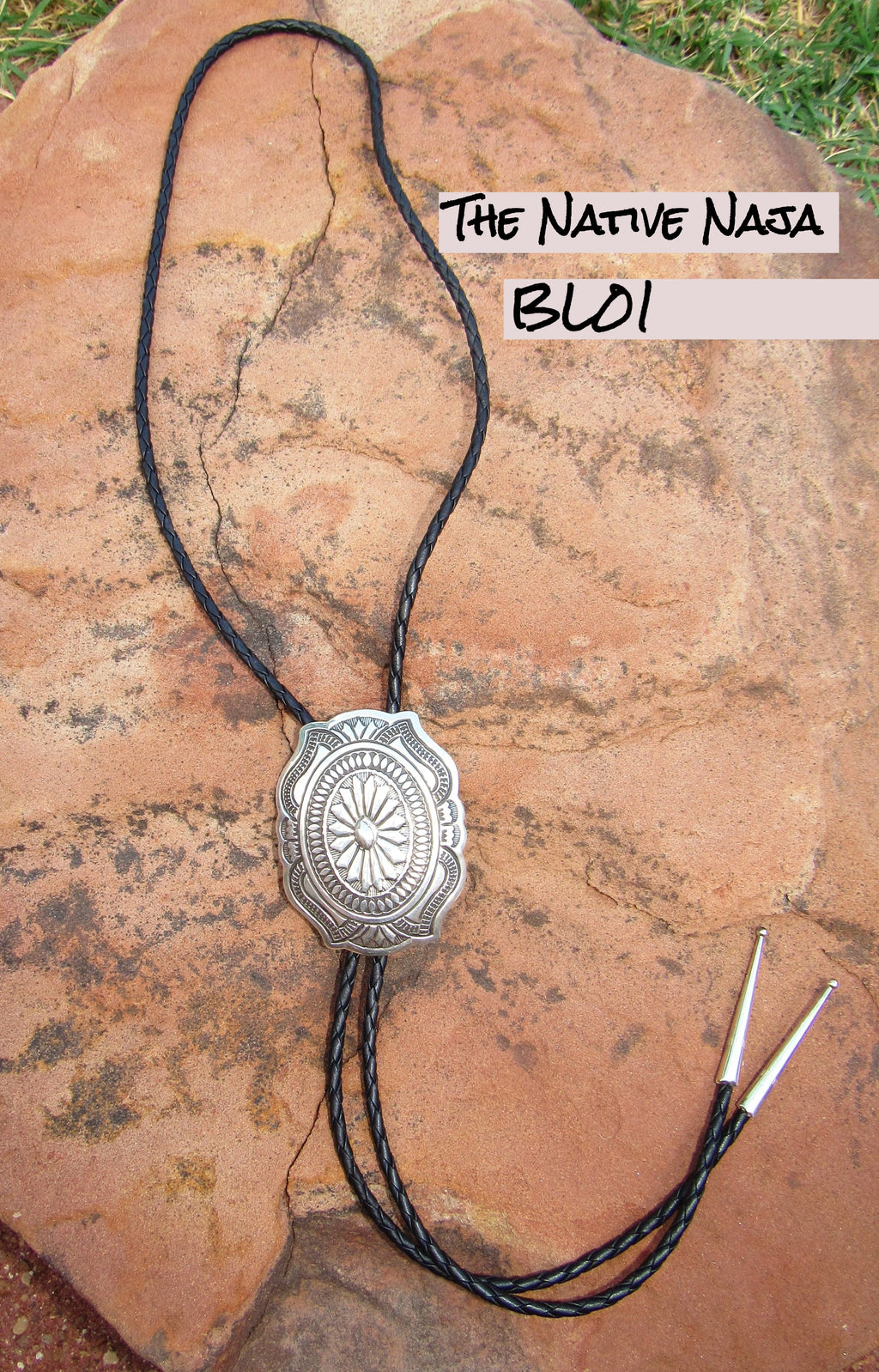 Navajo Large Sterling Silver& Braided Leather Concho Bolo BL01