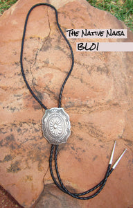 Large Navajo Genuine Sterling Silver & Braided Leather Concho Bolo BL01