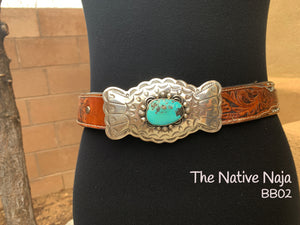 Large Navajo Genuine Sterling Silver & Campitos Turquoise Belt Buckle BB02