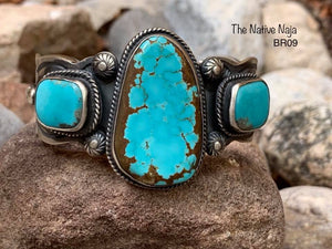 Large 3 Stone Navajo Sterling Silver & Kingman Turquoise Cuff Bracelet BR09