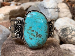 Large Stone Navajo Sterling Silver & Kingman Turquoise Scroll Cuff Bracelet BR13