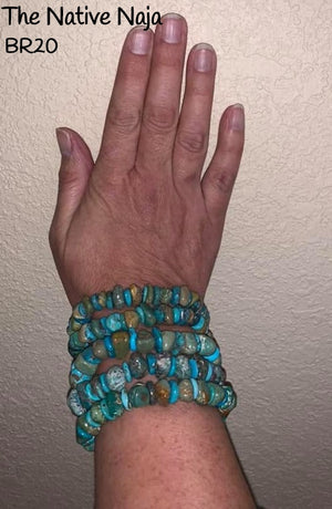 Assorted Navajo Green & Blue Kingman Turquoise Stretchy Bracelets BR20