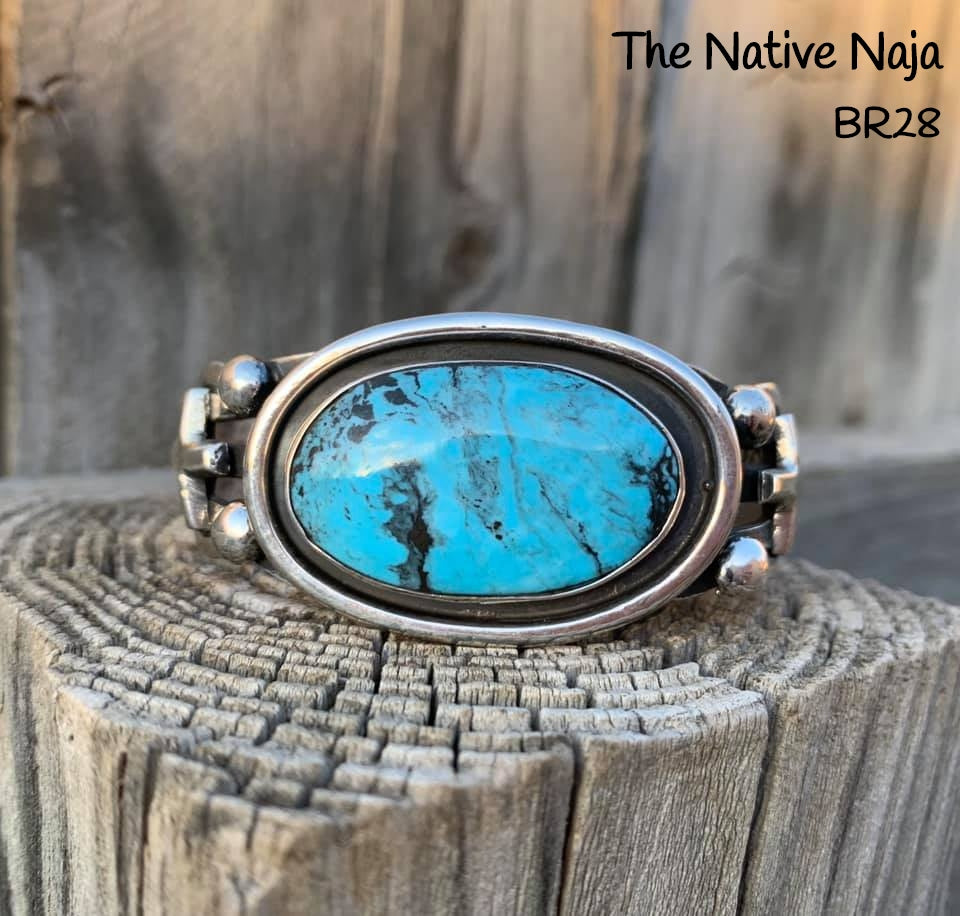 Navajo Genuine Sterling Silver & Kingman Turquoise Shadowbox Cross Cuff Bracelet BR28