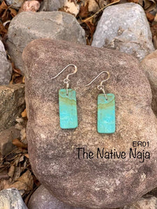 Navajo Sterling Silver & Genuine #8 Turquoise Slab Earrings ER01