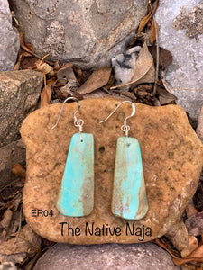 Navajo Sterling Silver & Genuine #8 Turquoise Slab Earrings ER04