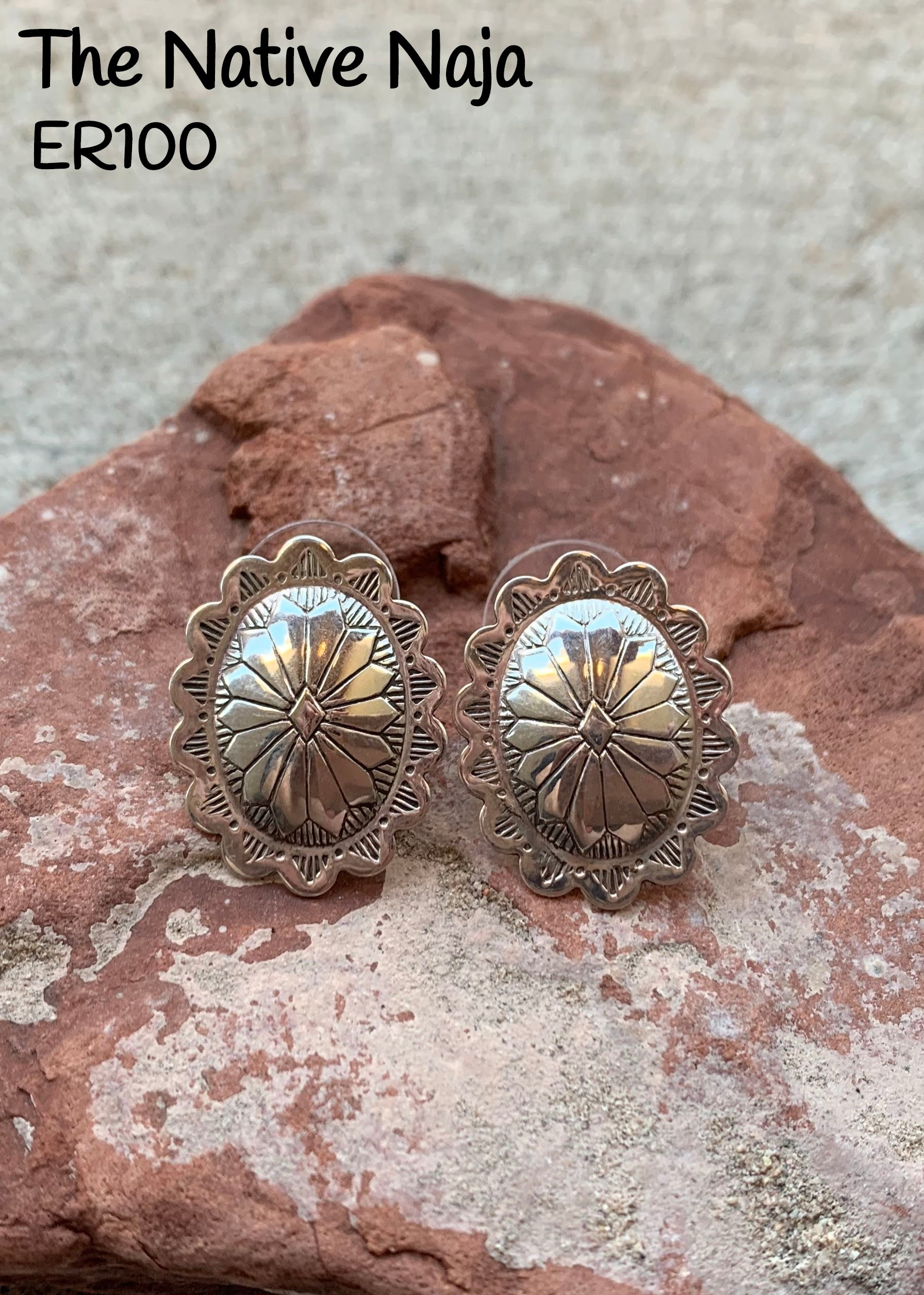Dainty Navajo Sterling Silver Concho Post Earrings ER100