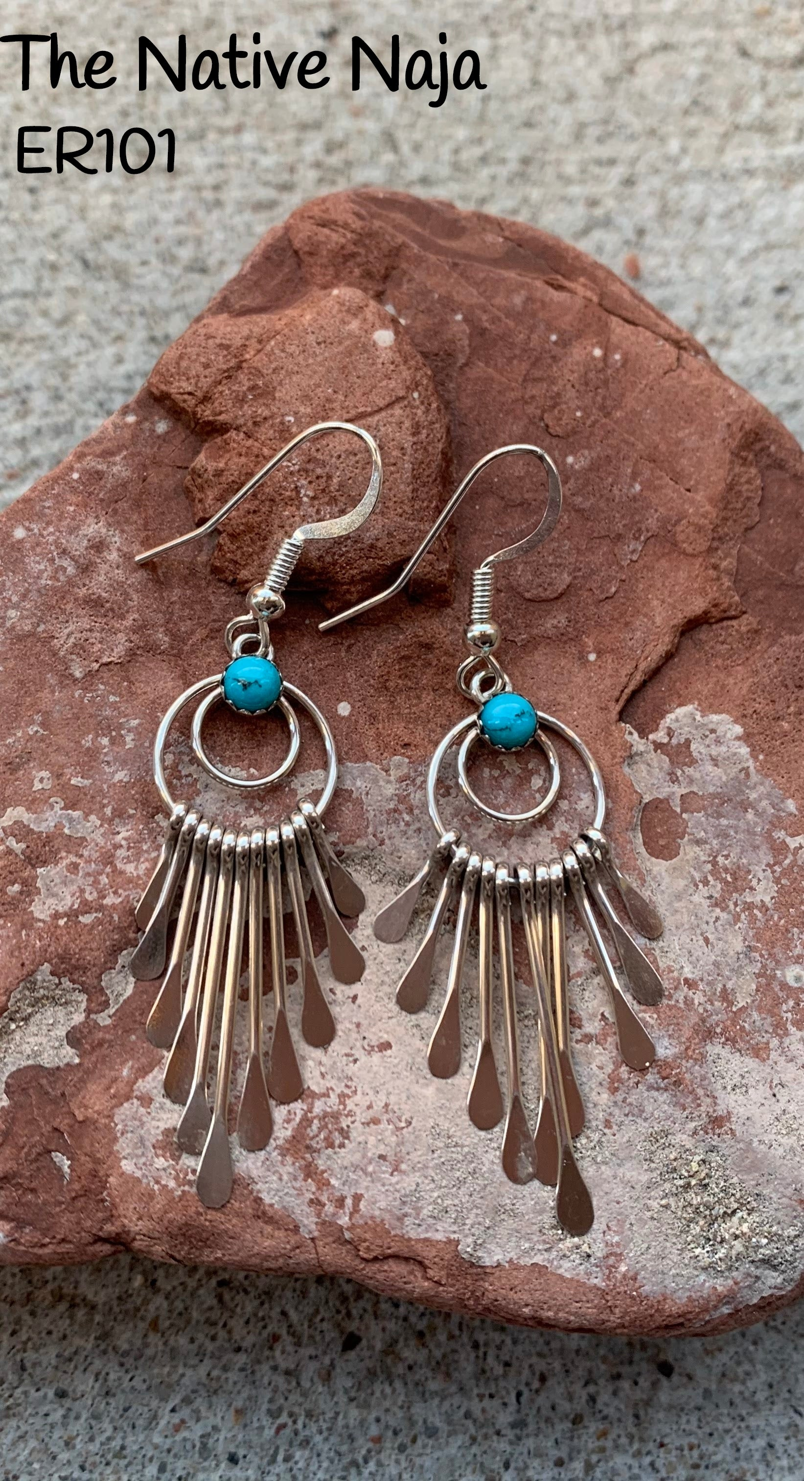 Navajo Sterling Silver & Kingman Turquoise Spoon Earrings ER101