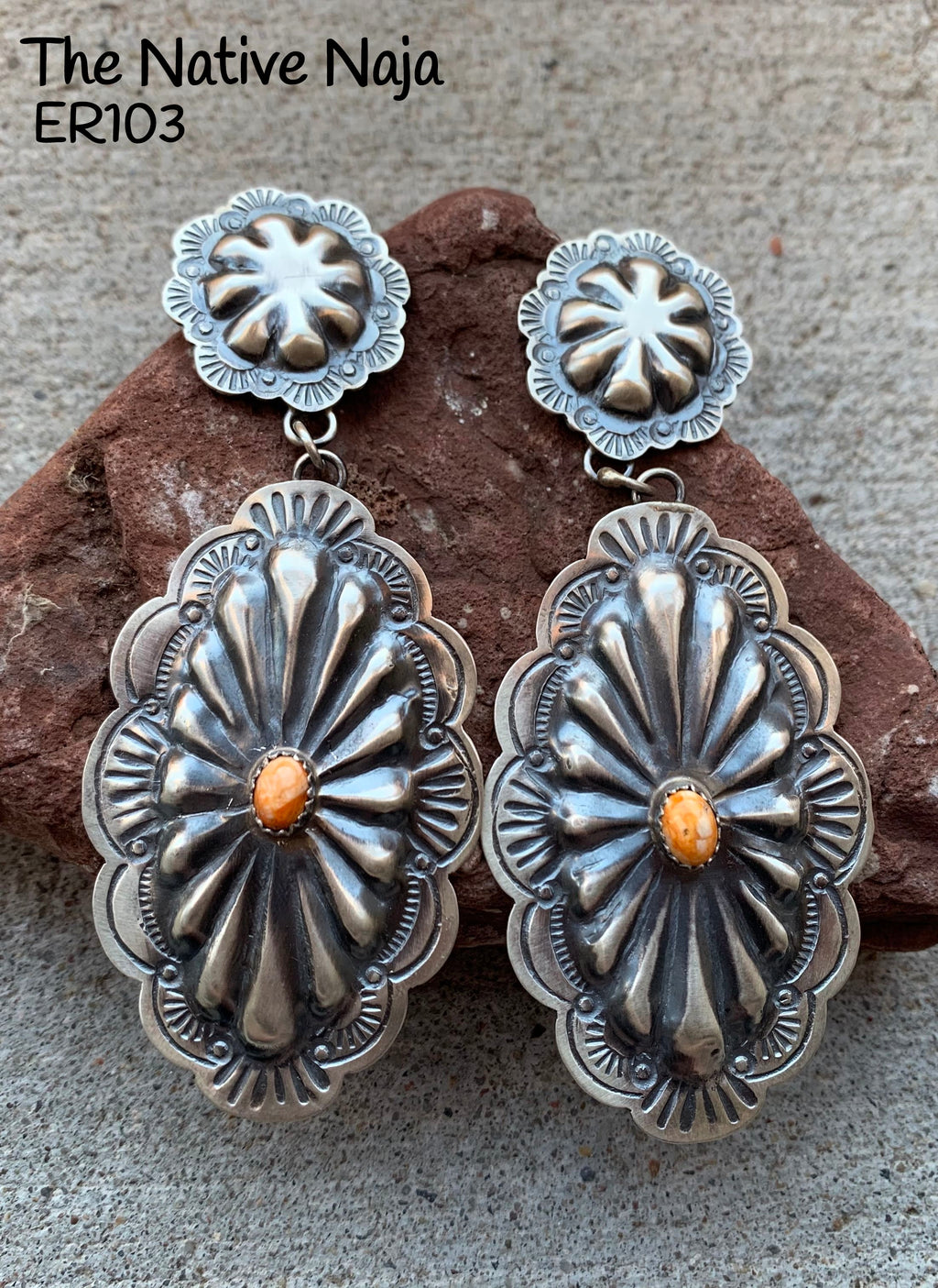 Large Stunning Navajo Genuine Oxidized Sterling Silver & Spiny Oyster Concho Post Earrings ER103