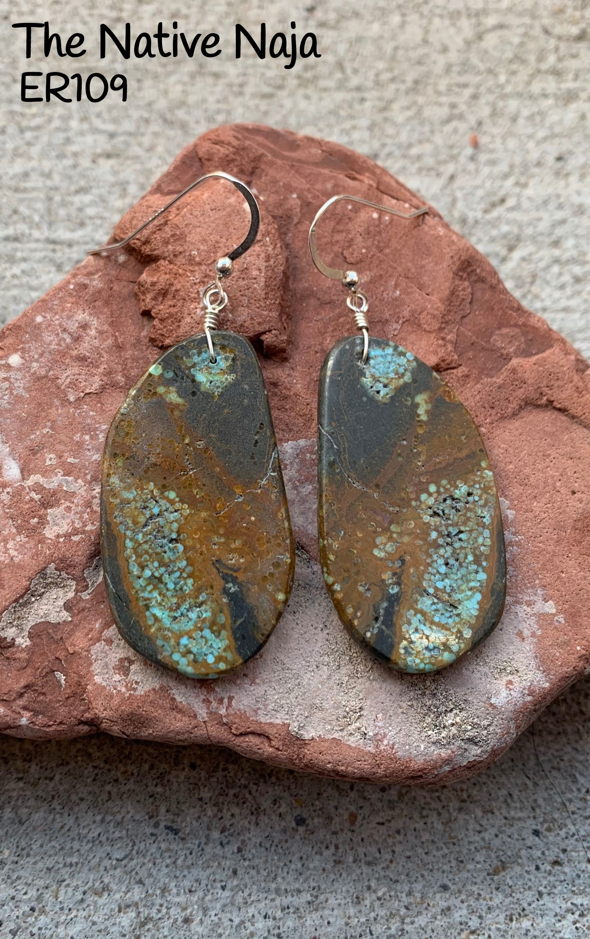 Large Navajo Sterling Silver & Genuine Mine #8 Turquoise French Hook Slab Earrings ER109