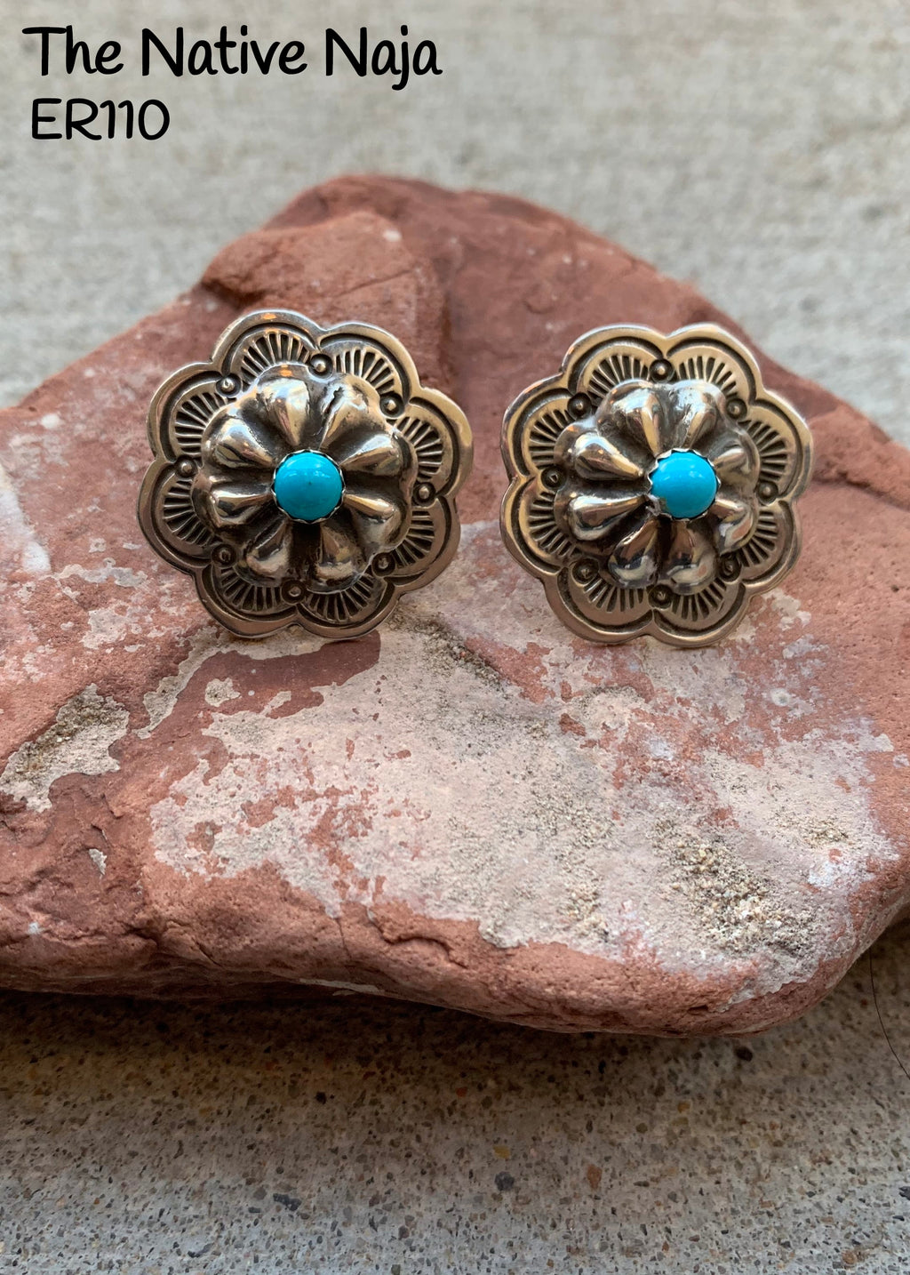 Dainty Navajo Genuine Sterling Silver & Kingman Turquoise Concho Post Earrings ER110